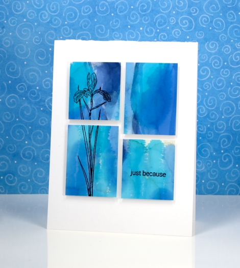 blue panelled iris Heather Telford